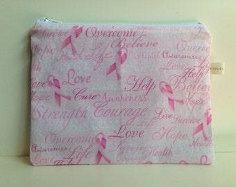 Zippered Reusable Sandwich Bag, Eco Friendly, Pink Ribbon