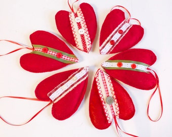 Red felt Heart Ornament  - Wedding decor Valentine's Day Decor