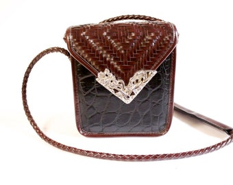 Vintage Brown and black woven Purse Handbag with silver toned floral decor by Elka