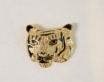 Vintage Rhinestone Tiger Head Brooch Pin In Gold Tone With Black Enamel