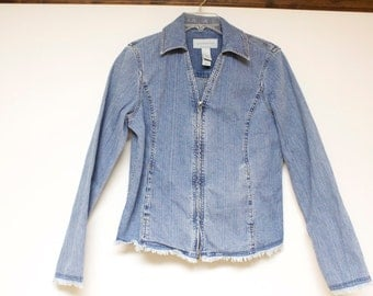 Vintage Women's Jacket - Liz Claiborne Denim Jean Jacket size medium