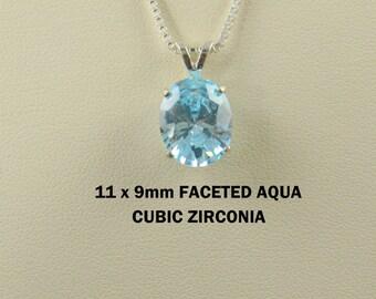 Aqua Cubic Zirconia Gemstone Pendant Necklace.
