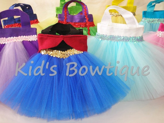 Set of 4 Disney Princesses Inspired Party Favor Tutu Bags - Just Added Frozen Movie Theme Birthday Bags
