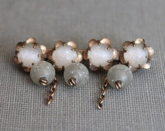 Victorian Unpolished Moonstone Brooch with Dangling Jewels
