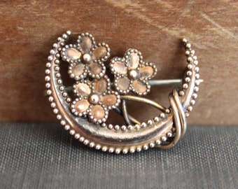 Victorian Crescent Moon Honeymoon Pin with Forget-me-Not Flowers