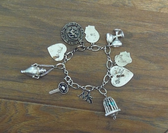 Vintage Charm Bracelet with Bird Cage and More Charms