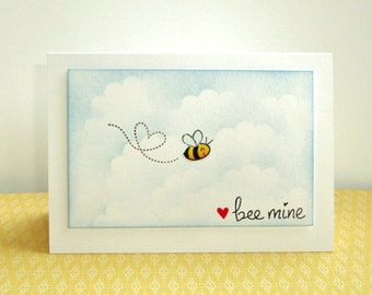 Bee Mine Valentine Card, Humorous Valentine, Punny Valentine Card, Bee Valentine Card, Be My Valentine, Kid's Valentine, Valentine for Child