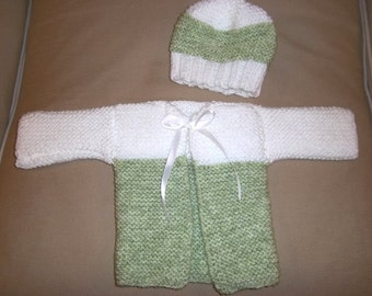 Cardigan - Hand Knitted Baby Set - Set for Infants up to 6 Month - Cardigan and Hat - Acrylic Yarn in Green and White