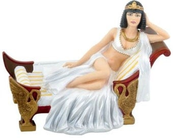 Halloween Ancient Egyptian Themed Queen Cleopatra Bride Royalty Wedding Cake Toppers-Hand Painted Resin Romantic Figurine-B2