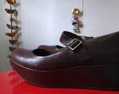 Korks Kork Ease 8.5 burgundy leather platform Mary Janes