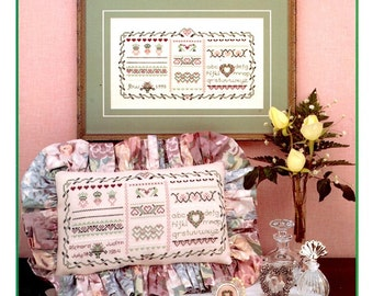 Oh Noble Heart Sampler Vine Wreath Wedding Announcement Romantic Valentine Gift Flower Counted Cross Stitch Embroidery Craft Pattern Leaflet