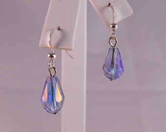 Swarovski Aurora Borealis Faceted Teardrop Tanzanite Crystal Dangle Earrings on Sterling Silver French Ear Wires, DE13