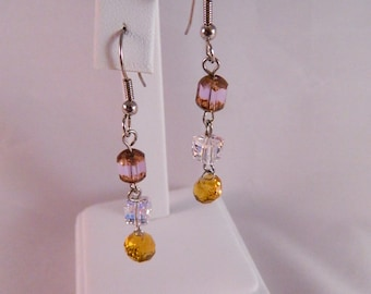 Swarovski Aurora Borealis and Faceted Crystal and Czech Faceted Bead Dangle Earrings on Stainless Steel Ear Wires, DE27