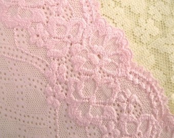 Elastic fabric Stretch fabric Embroidered fabric Floral fabric Pink stretch fabric 1 yard FB057