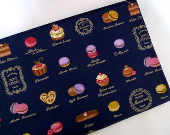Macarons fabric, Cotton fabric, Japanese fabric, French cakes, Navy blue fabric, 1/2 yard FB133