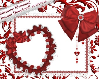 Valentine Clipart, Valentine Heart Frame, Red Bow Clipart