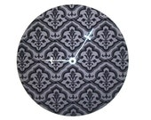 Flocked Floral Wall Clock, Black and Gray Wall Clock, Record Clock, Unique Wall Clock, Bedroom Clock, Living Room Clock Home Decor  No. 1334