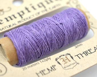 Hemp Thread, Lavender,  Sewing Thread, 66 Yards, 2 ply, Hemp Cord -HC119