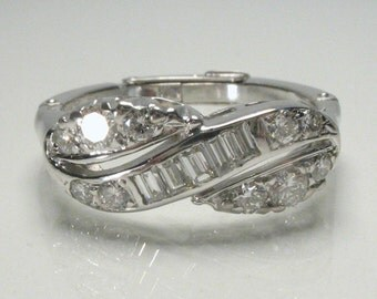 Vintage Diamond Wedding Ring - Baguette and Round Diamond Wedding Ring - Adjustable Band - Appraisal Included