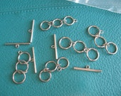 """DESTASH - Silver Plated Three Link Closures 1 5/8"""" in length - Qty 5"""