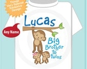Boy's Big Brother to Twins Monkey Shirt or Onesie with twin Baby Monkeys 1 boy 1 girl, Personalized Pregnancy Announcement  (02072014i)
