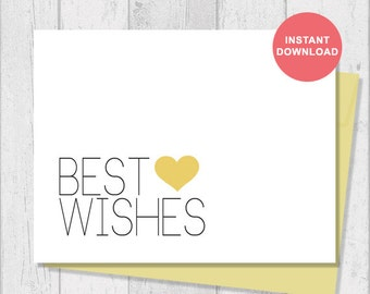 Printable Card - Instant Download - Digital Template - Note Card - Includes Printable Envelope A2 - Best Wishes - G6