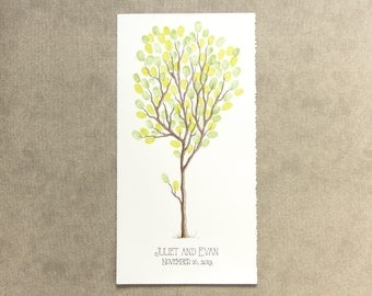Wedding Guest Book Tree 10 x 20 Customizable ORIGINAL Watercolor Painting Thumbprint Tree up to 100 guests