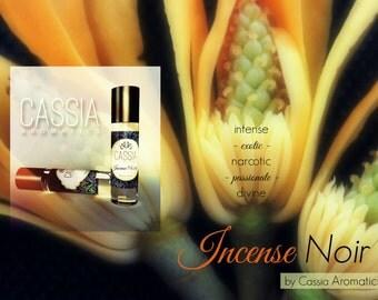 Intense exotic floral frangipani, sandalwood, champaca Incense Noir Oil Perfume
