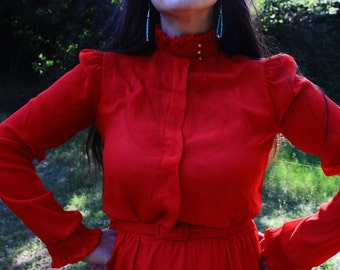 The RED QUEEN - 1970s Secretary Dress Lizzy & Johnny by Lucero Retro Glam Sexy Semi Sheer Sassy Scarlet Crimson Red High Neck Small Med 6