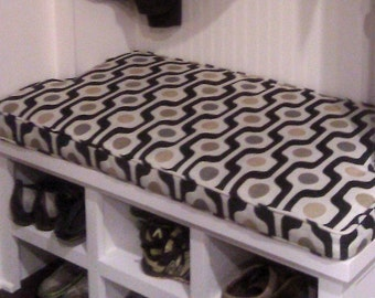 """Mudroom Bench Cushion,Notched Sides,Custom. 41"""" x 22"""" x 2"""",use your own fabric,includes foam,double piping,batting and zipper.Made to Order."""