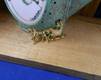 """Vintage 1960 Christmas Brooch Man and Woman in Horse Driven Sleigh, """"Over the River and Through the Woods"""""""