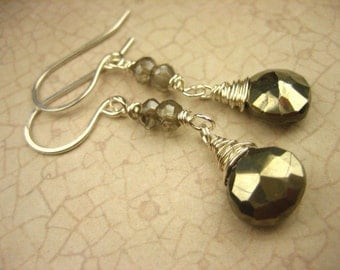 Petite Golden Pyrite Smokey Quartz Gemstone Sterling Silver Earrings Dangle Wire wrapped delicate dangle