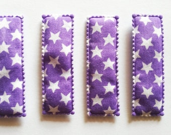 25 pcs - Cute Star Printed Rectangular Hair Clip COVERS -    size 55 mm Purple