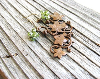 Copper Leaf Earrings Peridot Green Beads Gold Filled Branch Botanical Bridal Nature Inspired Minimalist Gardener Naturalist August Beaded