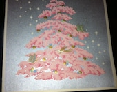 VINTAGE Holiday cards 6 - Pink Tree on Silver Metalic
