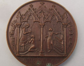 Antique French Bronze Sacrament Religious Medal Baptism, Communion and Confirmation Circa 1850   SS201