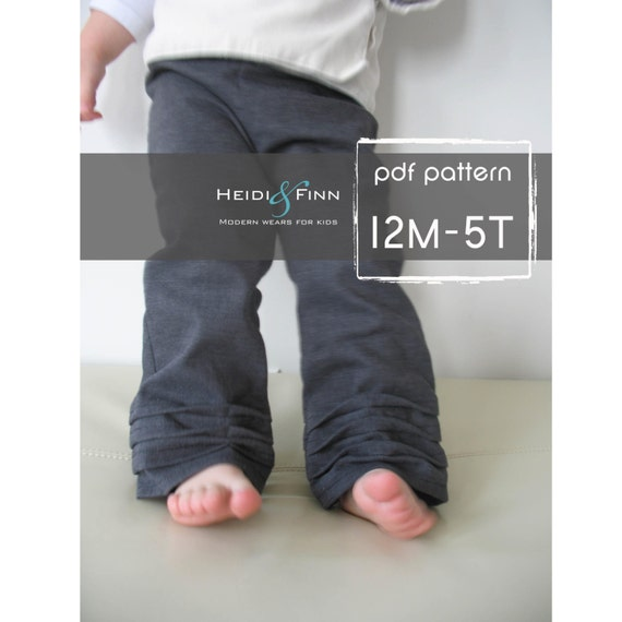 Pleat-Bottom Pants pattern and tutorial PDF 12m-5T EASY SEW epattern
