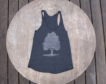 Tree of Life Tank Top / Tree Design List of Species on American Apparel Racer Tank Top / Bohemian Tank for Women