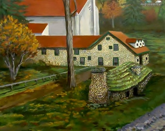 Original Painting of an Autumn Landscape  A large Acrylic Painting of Historical Buildings Acrylic Painting