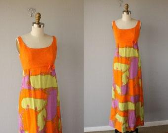 Vintage Maxi Dress   60s Dress   1960s Maxi Dress   Lanz Originals Dress