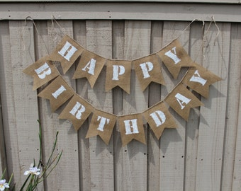 Happy Birthday burlap banner