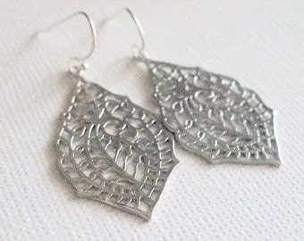 Paisley Dangle Earrings, Simple Everyday, Minimalist, Silver Jewelry