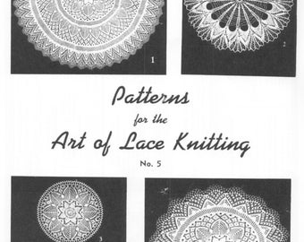The Art Of Lace Knitting Patterns #5 Table Clothes Doilies PDF Instant Download