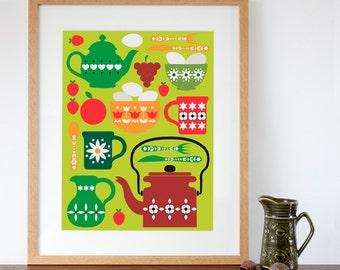 Retro Kitchen Design Art Print