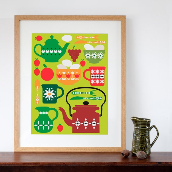 Retro Kitchen Illustration: Retro Kitchen Design Art Print