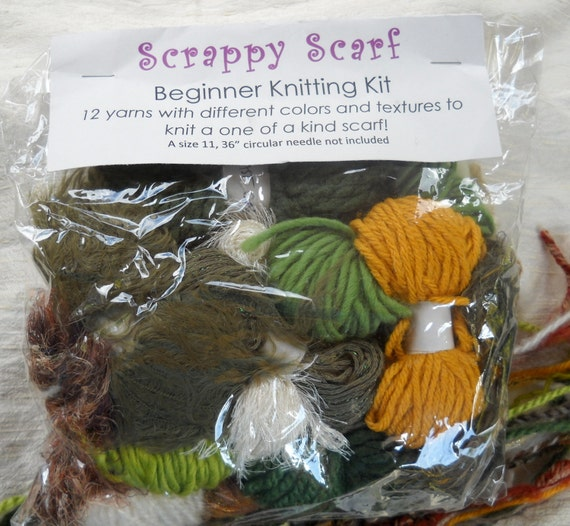 Knitting Kit For Beginners Singapore : Knitting kit beginner scarf in beautiful greens by joiedeweave
