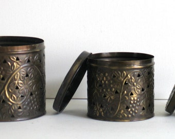 Canisters Metal Set of Three Lidded Canisters Keepsakes Trinkets