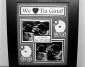 Twins Ultrasound Sonogram Frame - Love at First Sight / Our First Photo - Personalized - Any Message You Choose - With 8x10 Deluxe Frame