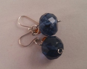 Blue and Amber glass bead earrings.