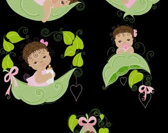 SWEET PEAPOD BABY Girls - 30 Machine Embroidery Designs Instant Download 4x4 5x7 6x10 hoop (AzEB)